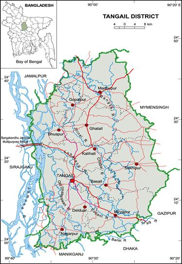 Distribution Of Earthworms At Different Habitats In Tangail - Tangail map