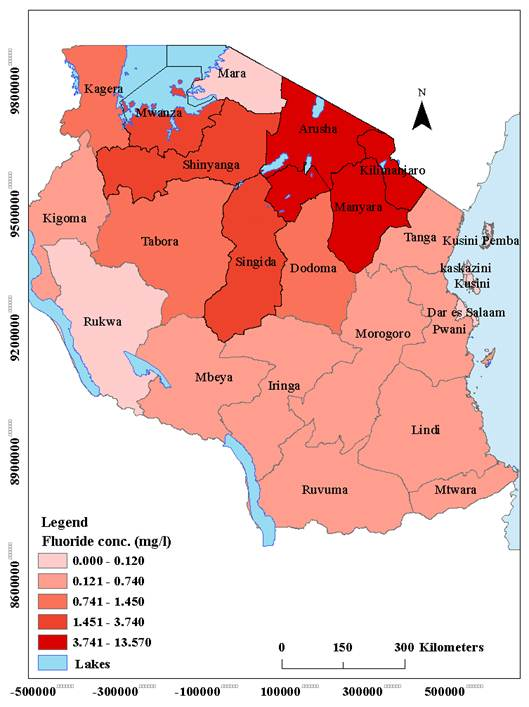 A Map Of Tanzania Showing Fluoride Distribution By Regions Data Source 16 26 32 41