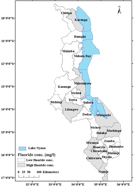 Map Of Malawi Showing Fluoride Distribution In Districts